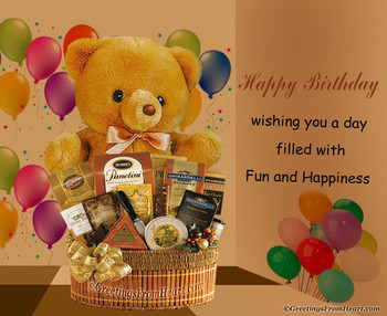 Happy birthday greeting with birthday gift hamper and cut...