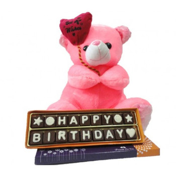 Happy birthday chocolate message with cute teddy gift my ...
