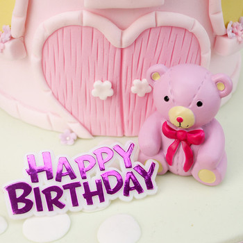 Pink teddy bear and happy birthday motto cake toppers