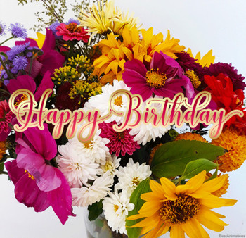 Beautiful flowers happy birthday gif wishes to share
