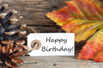 Autumn or fall background with happy birthday stock image...