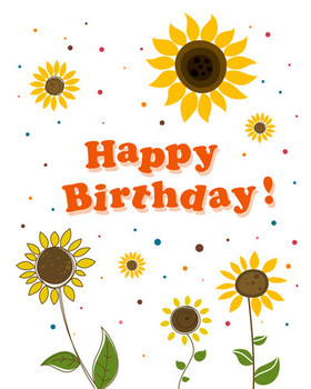 Cute flower with happy birthday greeting cards vector vec...