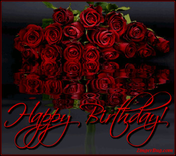 Birthday Card Female Lady Happy Roses Luxury Mod