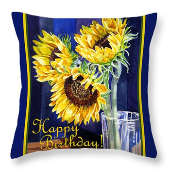 Happy birthday happy sunflowers throw pillow for sale by ...
