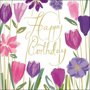 Hy Birthday Pink Amp Purple Tulips Sp A Great