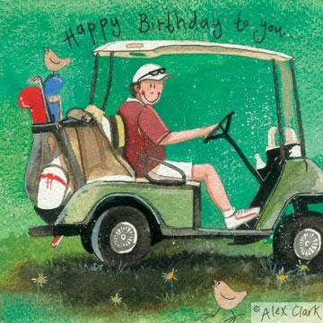 Golf buggy – happy birthday card – thecyclespa