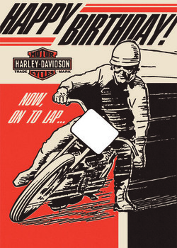 Harley davidson® on to lap birthday card hdl