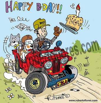 Willys cja jeep birthday card by roberto flores