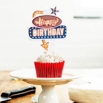 Happy birthday retro flashing sign cake topper the green ...