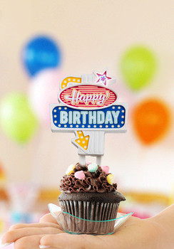 Happy birthday retro flashing cake topper remembers the g...