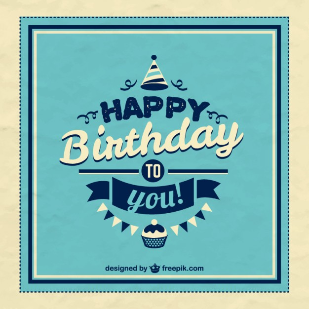 Retro happy birthday card vector free download
