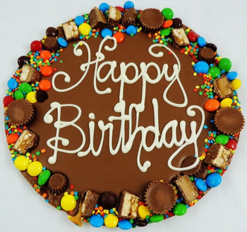 Happy birthday chocolate pizza choice of candy or nut bor...