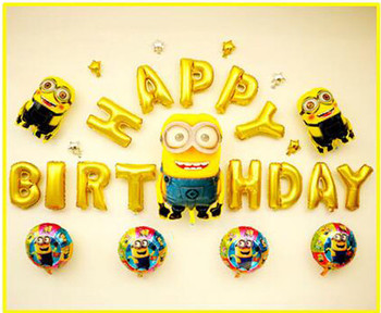 Pcslot minions balloon happy birthday gold letter foil my...
