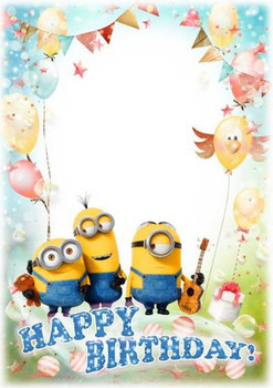 Children greeting photoshop frame psd format with minions...