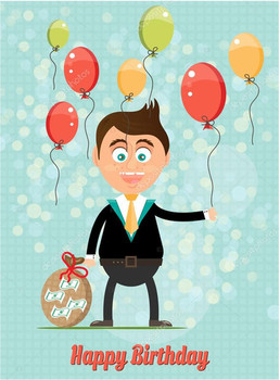 Birthday card with smiling happy young standing businessman