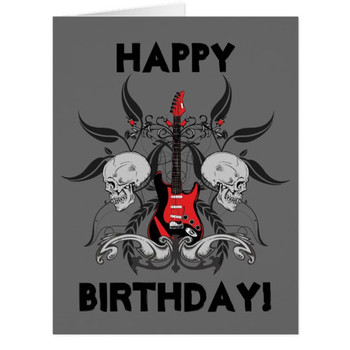Grunge guitar and skull happy birthday message card