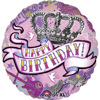 Round happy birthday tattoo foil balloon birthday foil