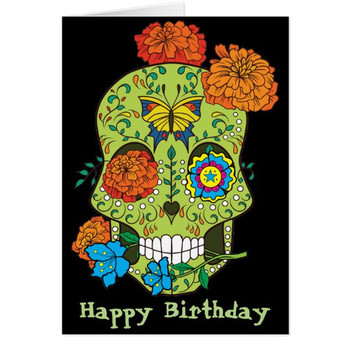 Happy birthday tattoo sugar skull rose in mouth card au