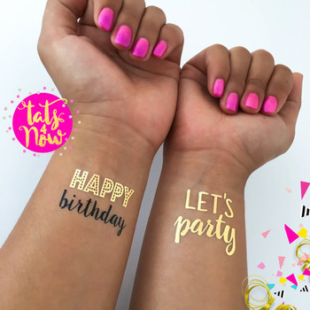 Happy birthday party favor gold tattoo lets party temporary