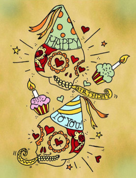 Sugar skull happy birthday card day of the dead mexican t...