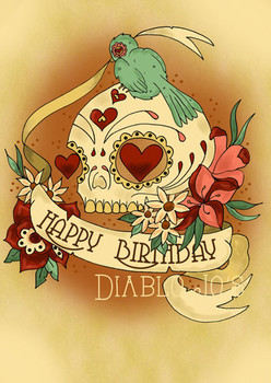 Happy birthday sugar skull card with tattoo scroll by dia...