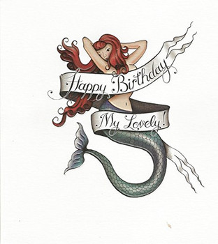 Happy birthday my lovely mermaid tattoo image birthday card