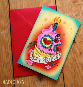 Happy birthday sugar skull cupcake card with tattoo by di...
