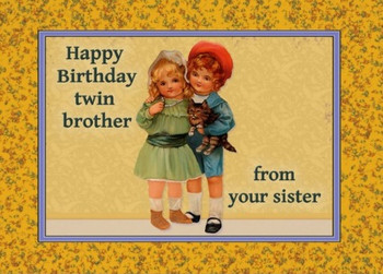 Happy Birthday To Twin Brother From Sister Card Zazzle