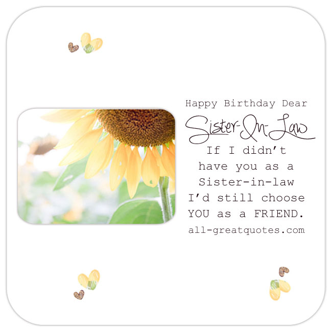 Happy Birthday Sister In Law Wishes Facebook Greeting Cards