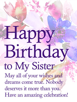 May your dreame true happy birthday wishes card for sister