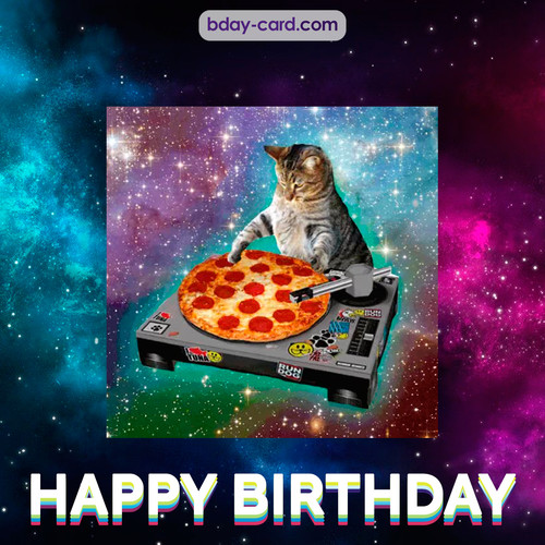 Meme with a cat - Happy Birthday