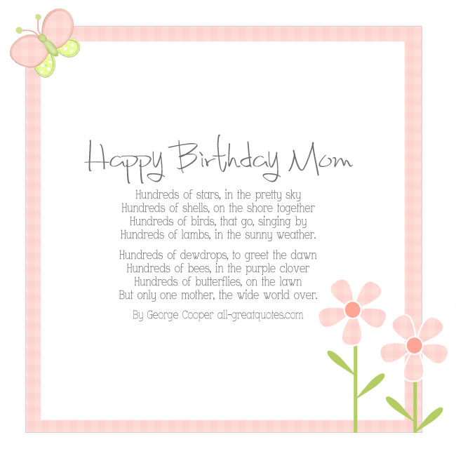 Happy Birthday Mom By George Cooper