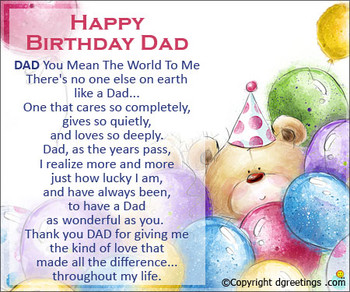 Happy birthday greeting cards for dad dad you mean the wo...