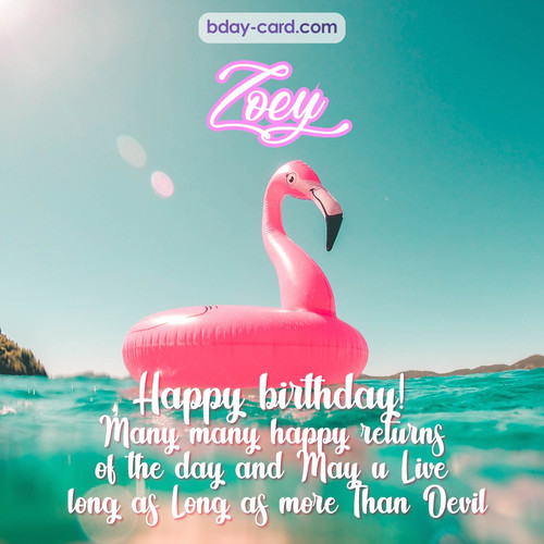 Happy Birthday pic for Zoey with flamingo