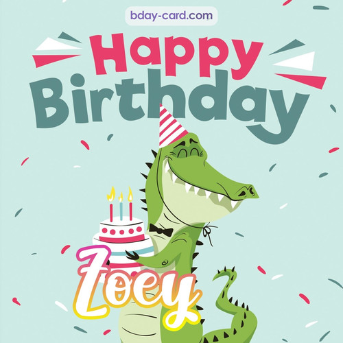 Happy Birthday images for Zoey with crocodile