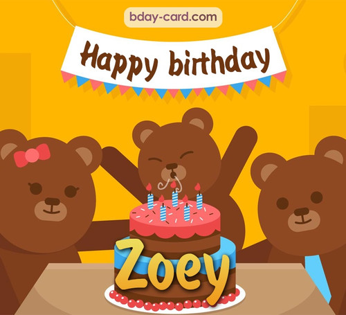 Bday images for Zoey with bears
