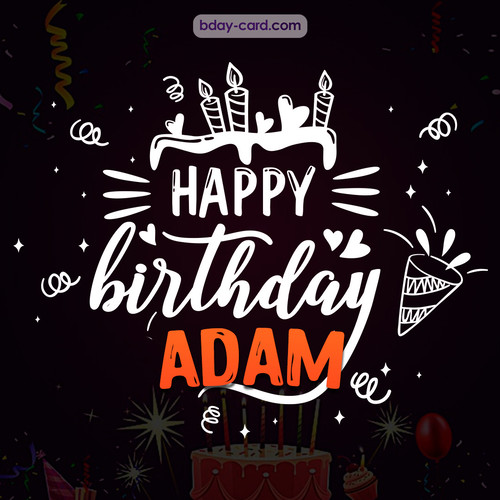 Black Happy Birthday cards for Adam
