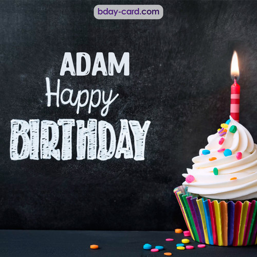 Happy Birthday images for Adam with Cupcake