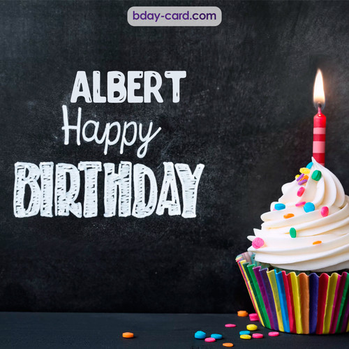 Happy Birthday images for Albert with Cupcake