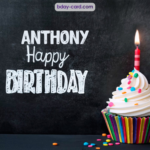 Happy Birthday images for Anthony with Cupcake