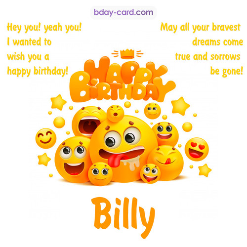 Happy Birthday images for Billy with Emoticons