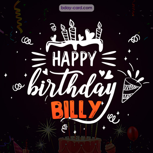 Black Happy Birthday cards for Billy