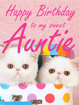 Fluffy Cat Happy Birday Card for Aunt Birday amp Greeting