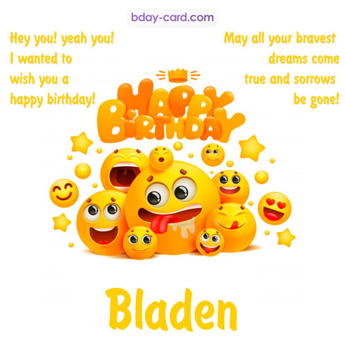 Happy Birthday images for Bladen with Emoticons