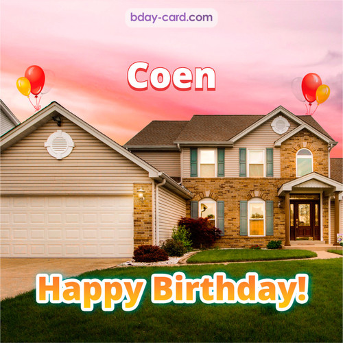 Birthday pictures for Coen with house