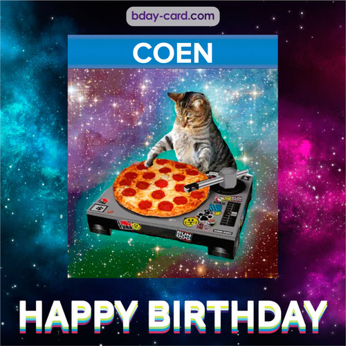 Meme with a cat for Coen - Happy Birthday
