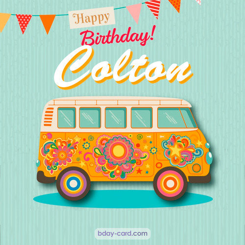 Happiest birthday pictures for Colton with hippie bus