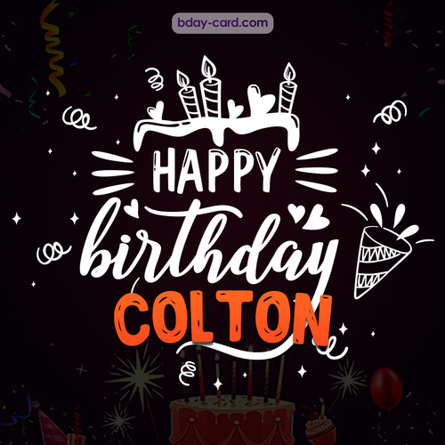 Black Happy Birthday cards for Colton