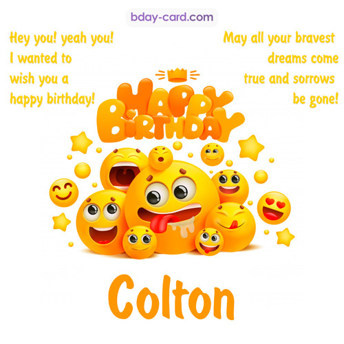 Happy Birthday images for Colton with Emoticons