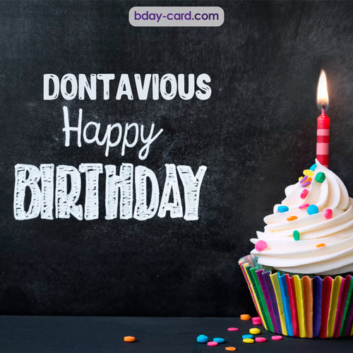 Happy Birthday images for Dontavious with Cupcake